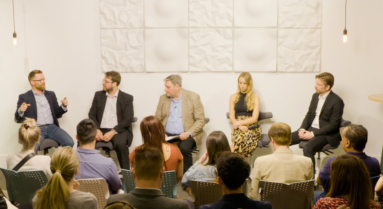 panel discussion at flokk uk showroom featuring five guests