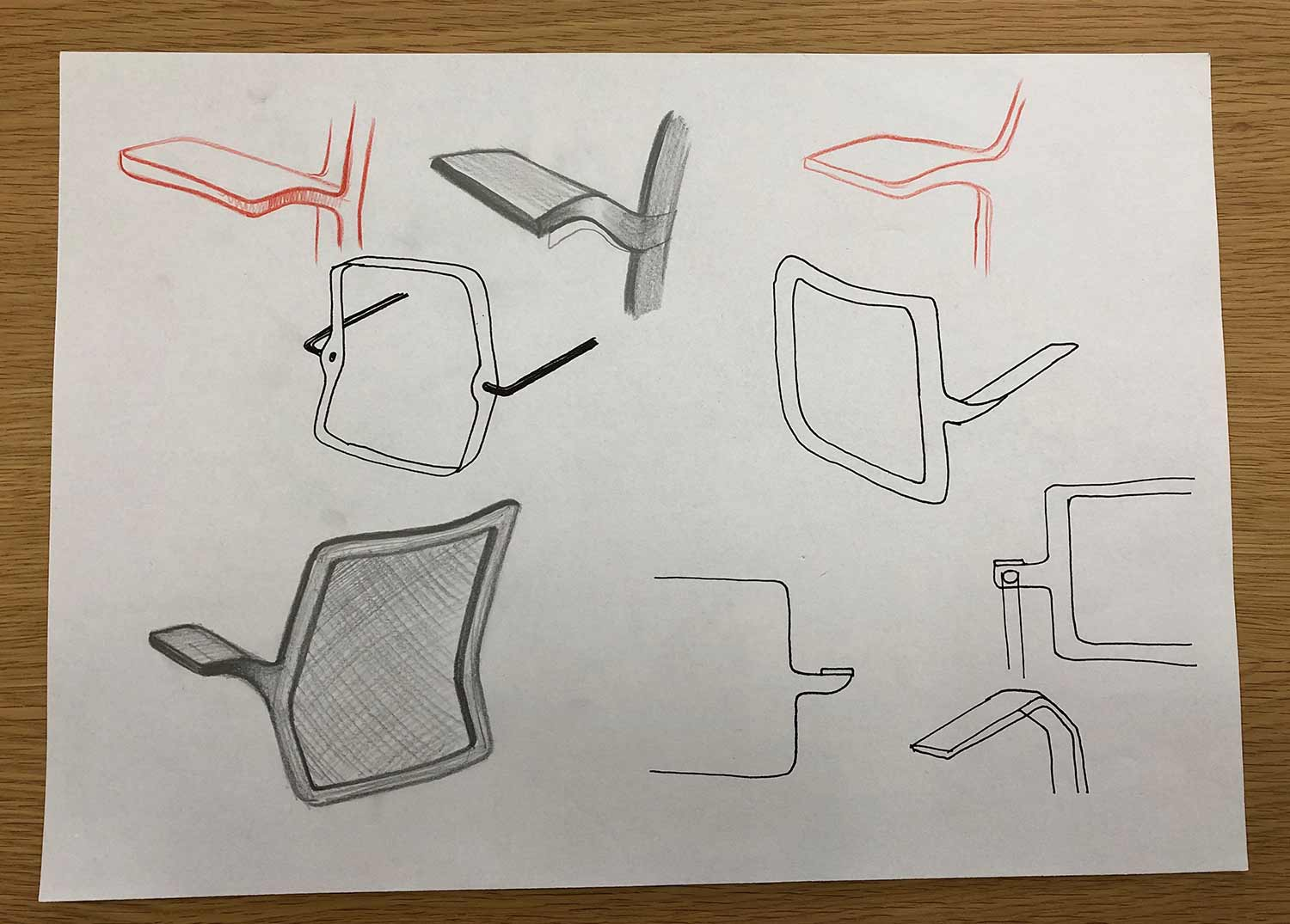 early sketches of backrest ideas for giroflex 161 chair