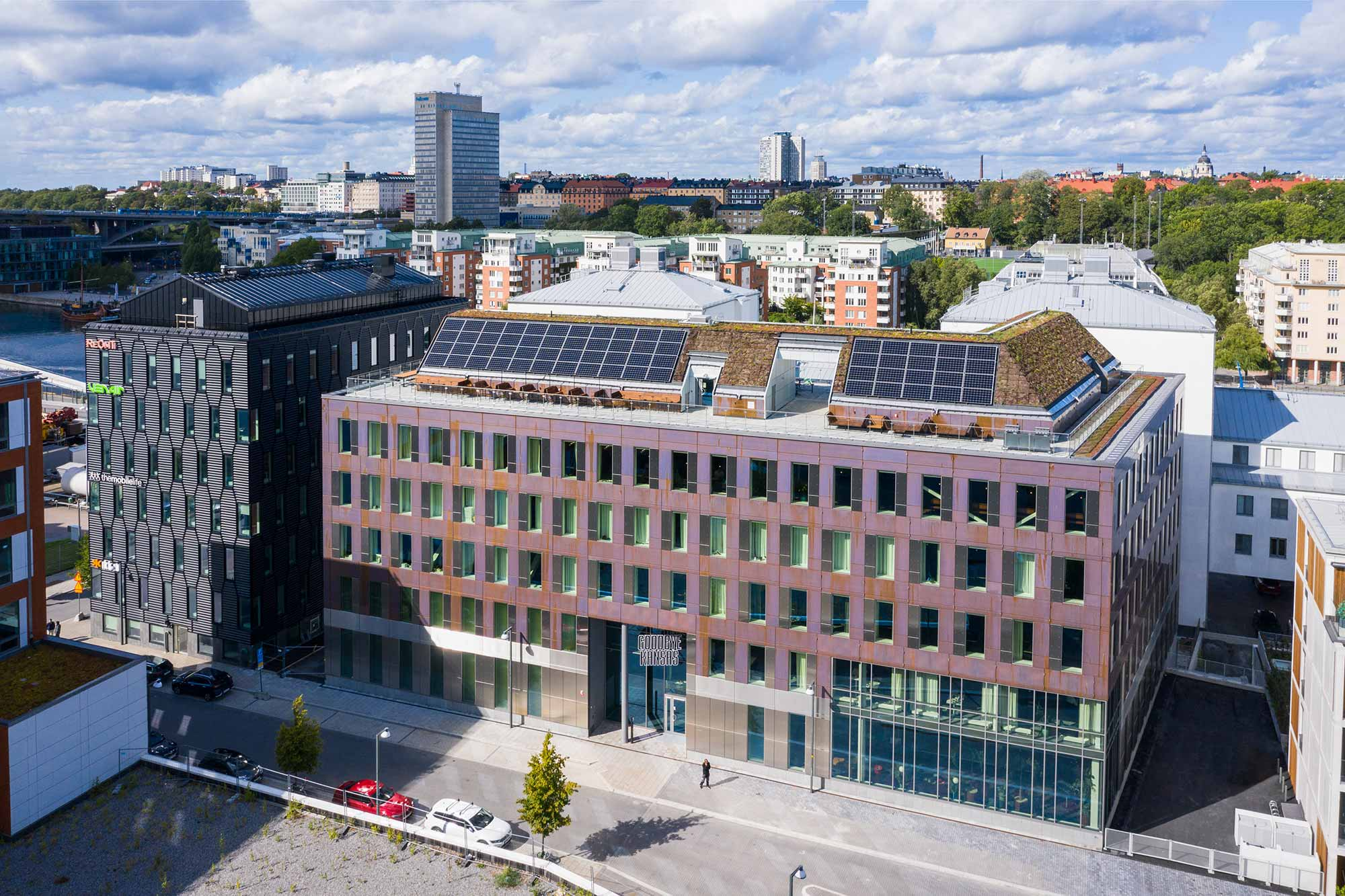 exterior image of copper house building in stockholm, home to Goodbye Kansas Studios