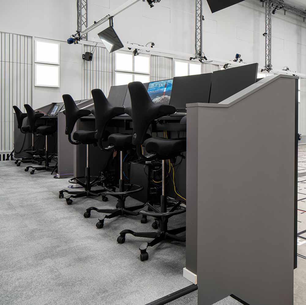 black HÅG Capisco chairs used at visual effects studio goodbye kansas in motion capture studio room