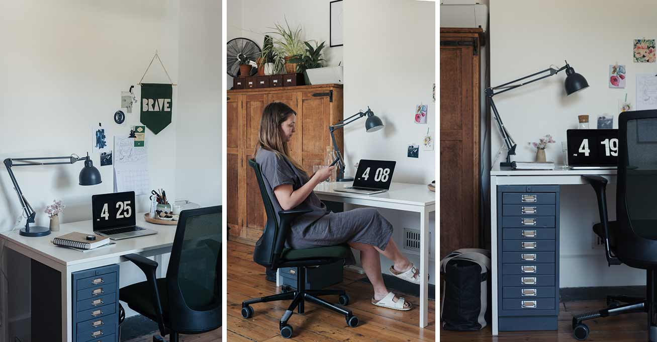 interior design idea for working from home featuring HÅG Futu chair in green mesh fabric perfect for home office