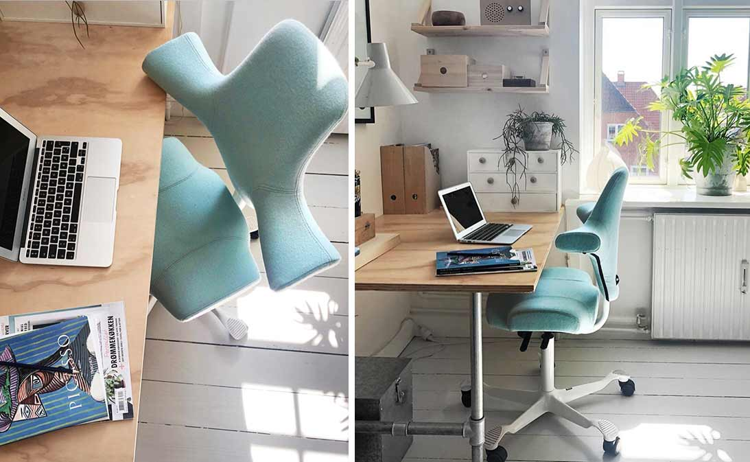 home office design idea featuring HAG capisco in sea green fabric light airy architecture and wooden desk