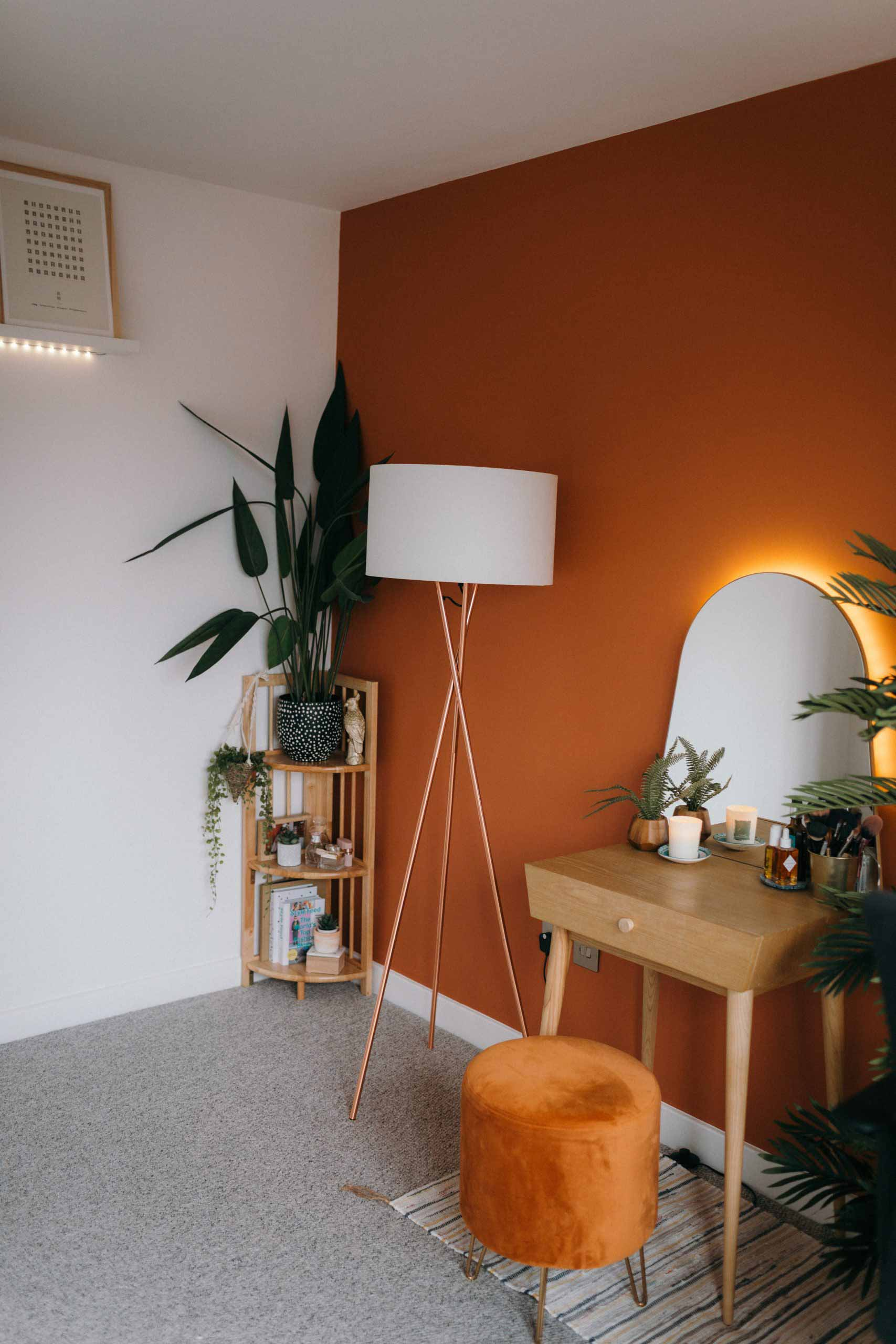 Orange walls in a home office redesign