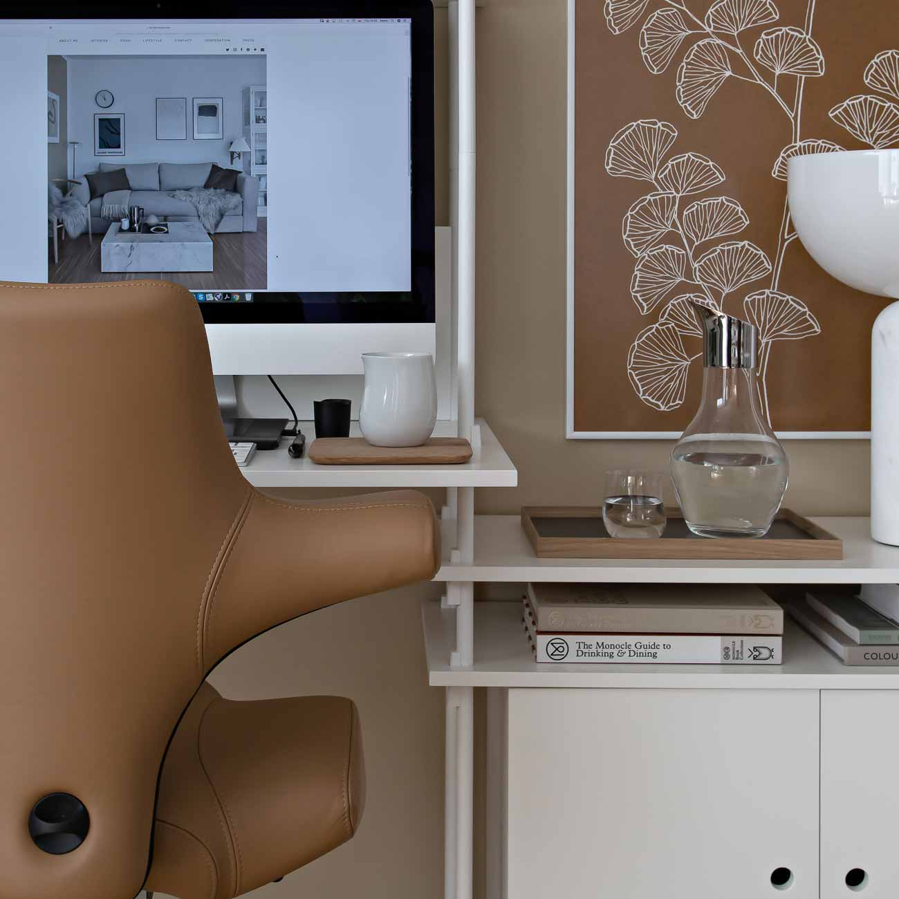 HÅG Capisco chair in brown Paloma camel leather at home office desk