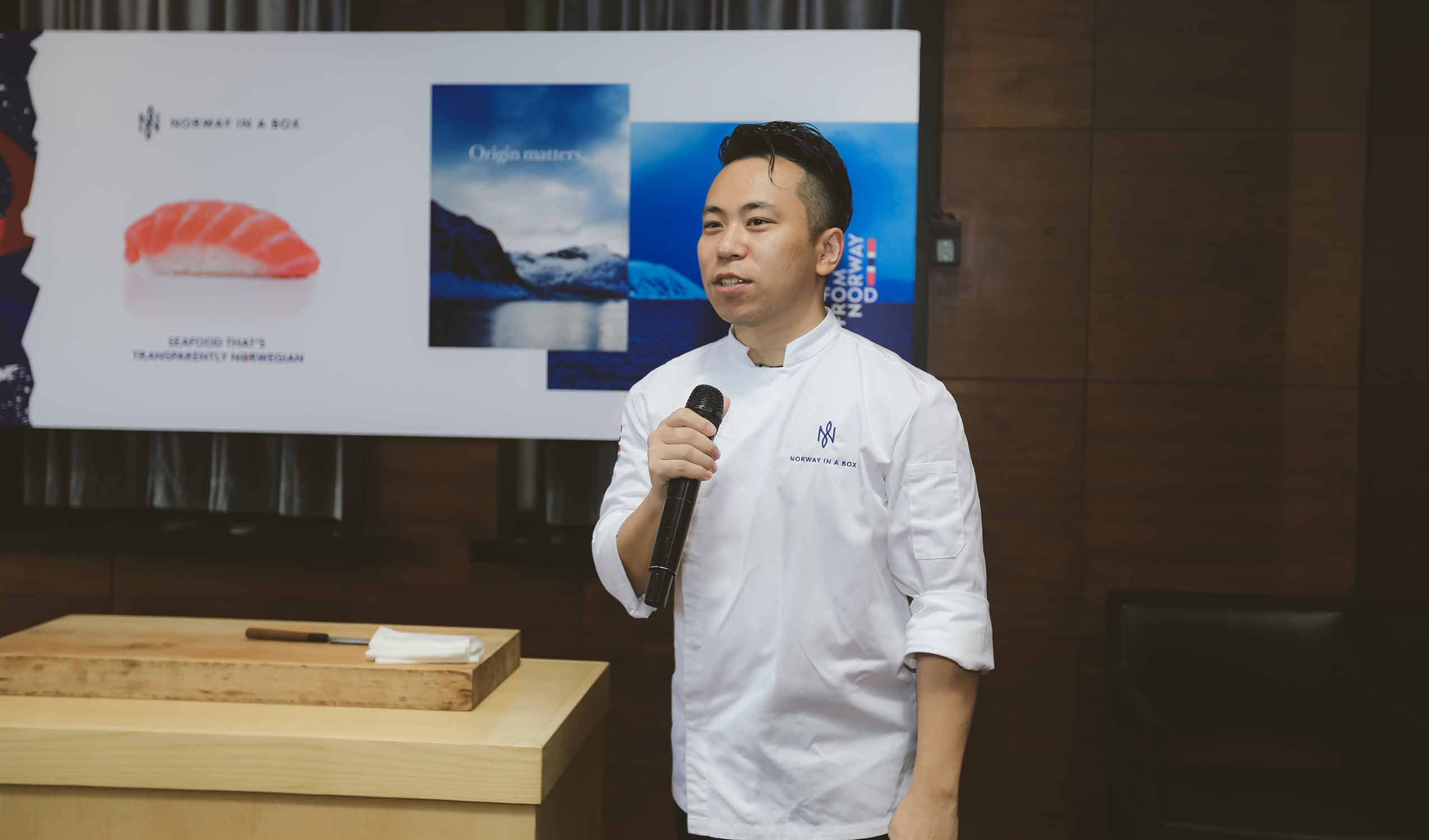 Chef speaking about sustainability at Table of Norway event in Shanghai