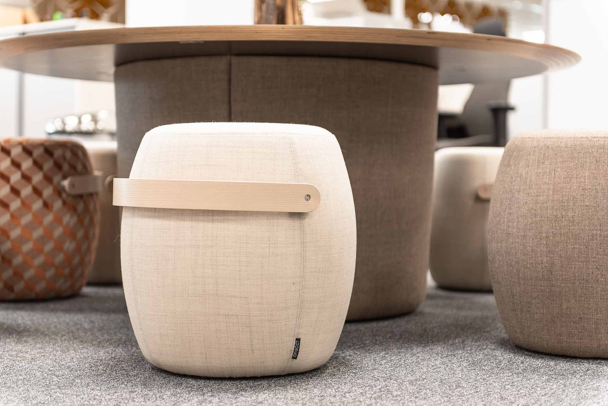 close up of Offecct Carry on stools and Offecct On Point Table