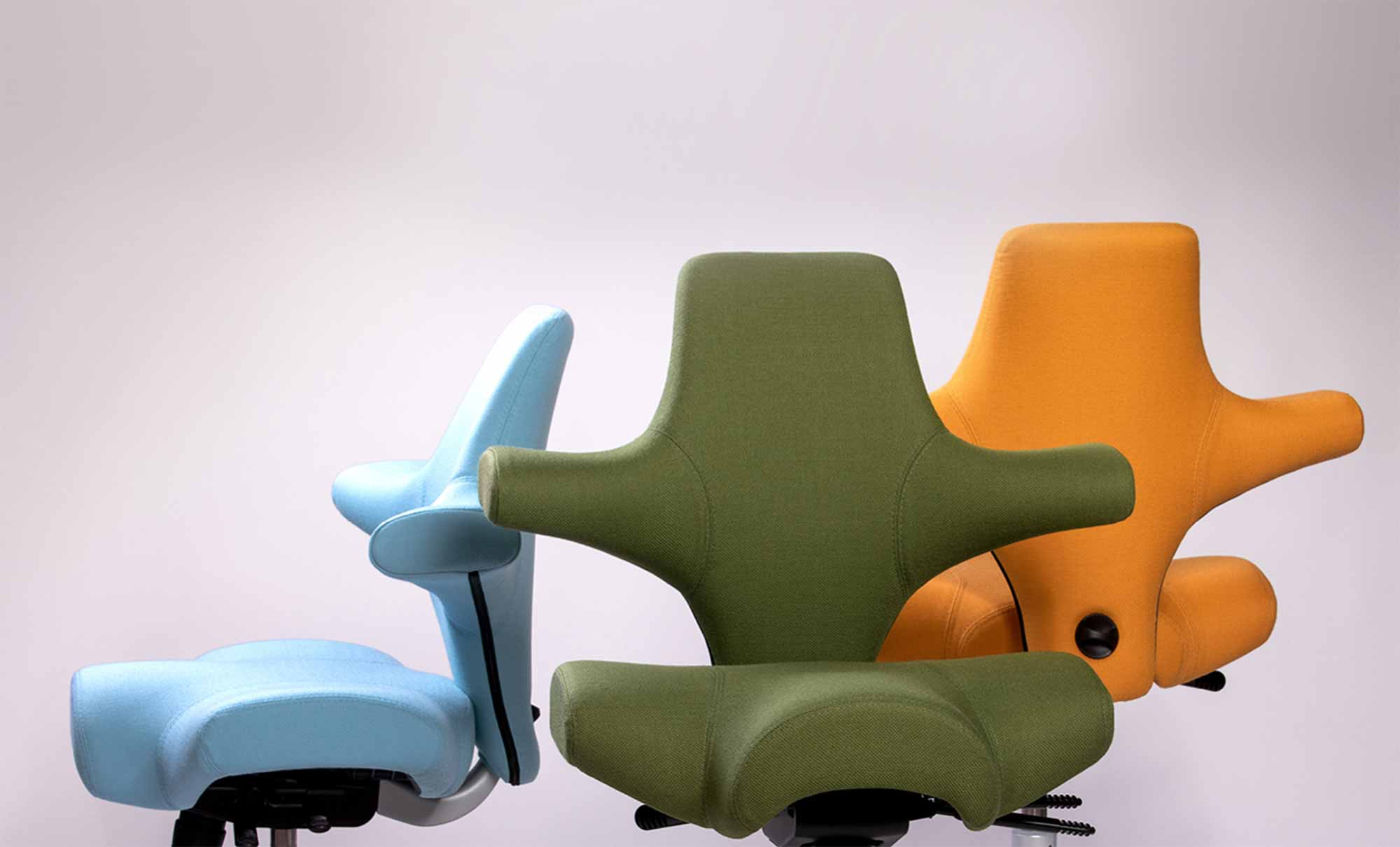 three hag capisco chairs in blue green and yellow select fabric