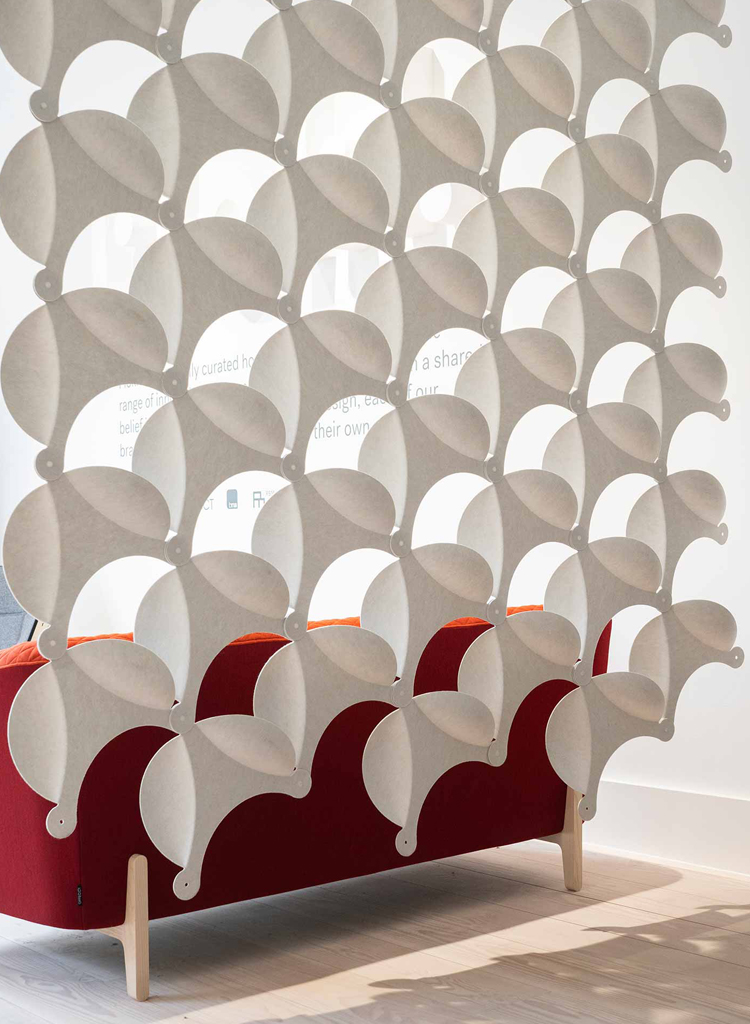 Offecct membrane acoustic panels hanging in uk flokk showroom