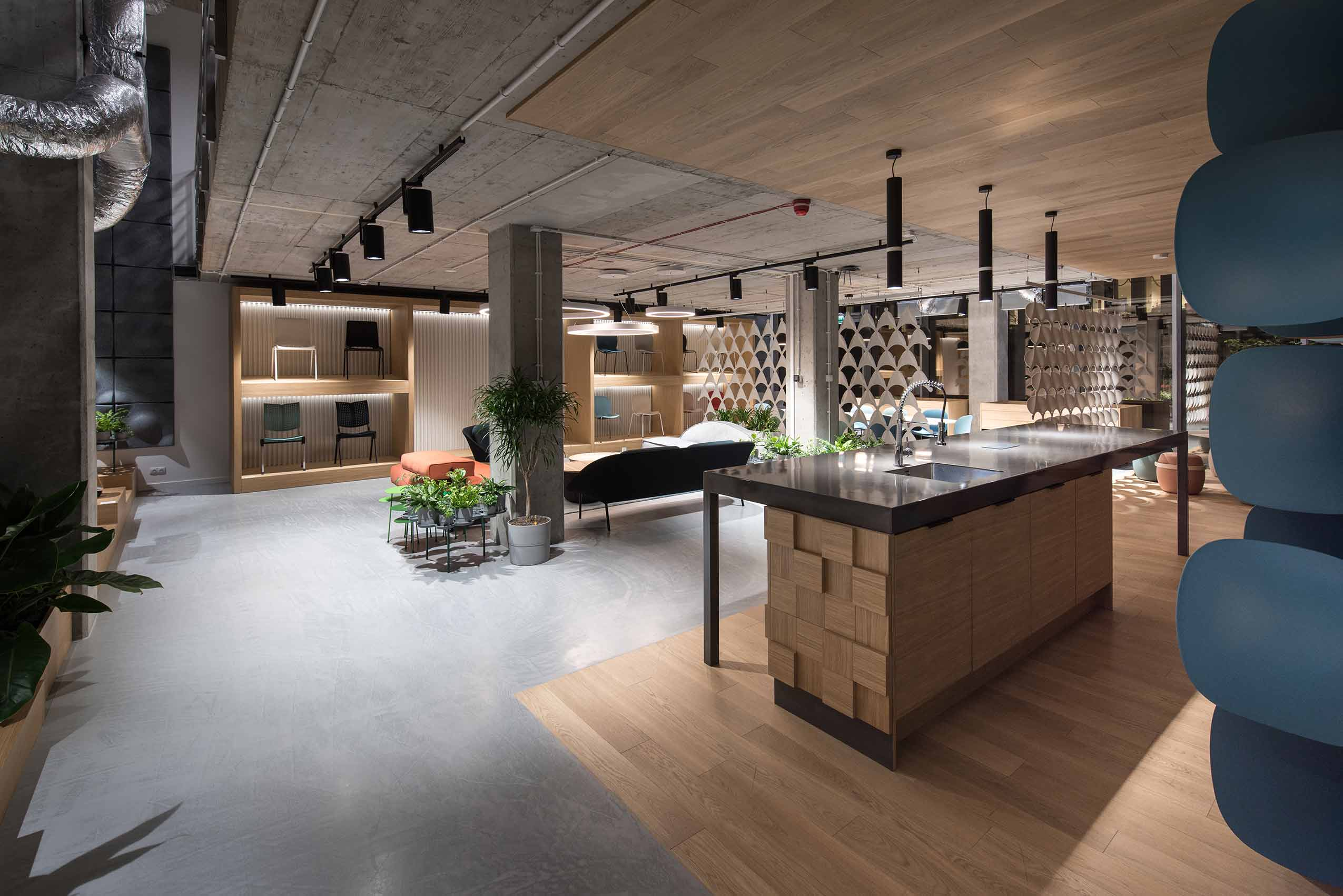 Interior image of Flokk showroom in Warsaw, Poland with kitchen area