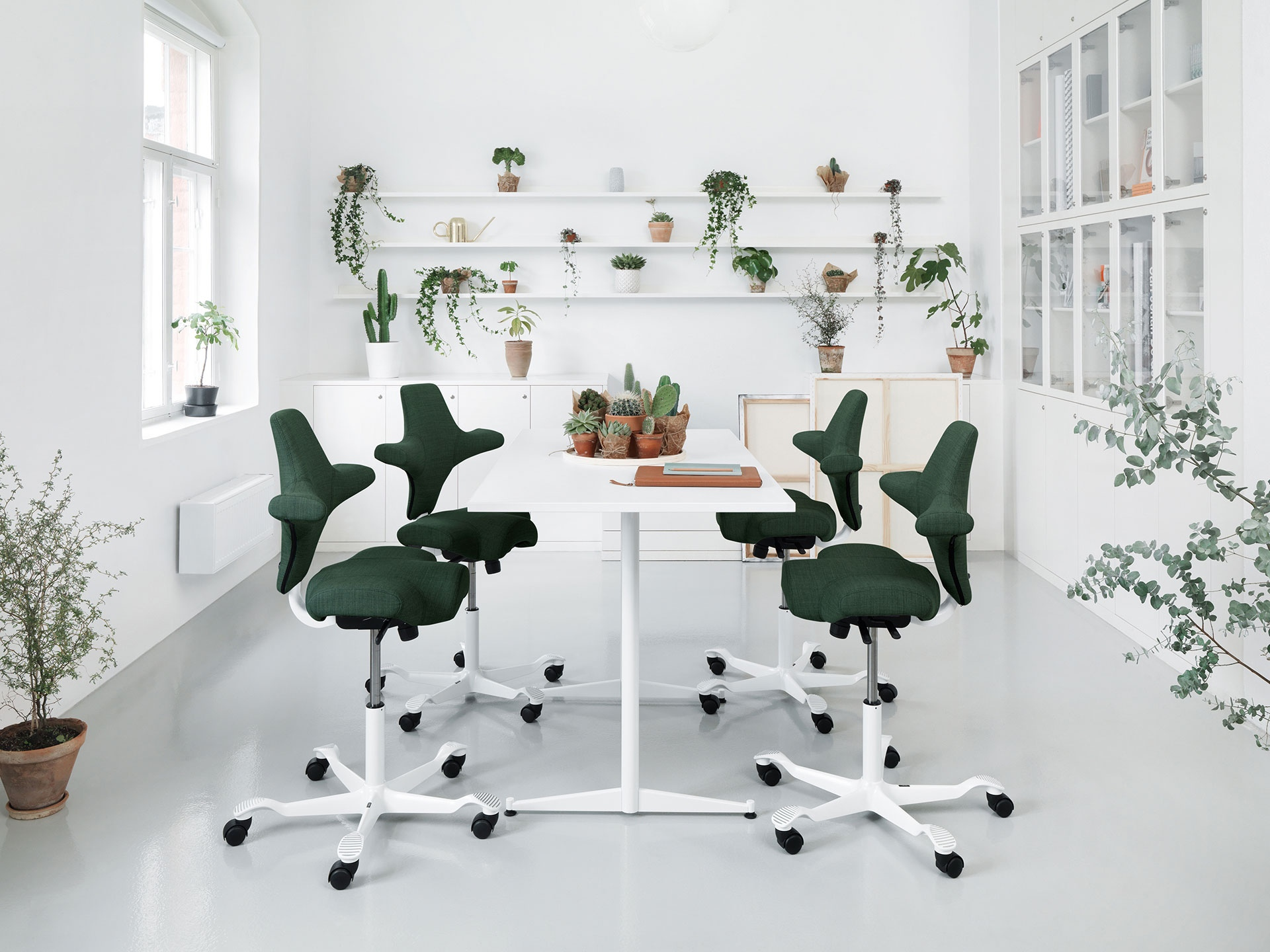 Four dark green HÅG Capisco chairs with white footbase arounf RBM Allround table in white with Cactus on the table and many plants in the white room.