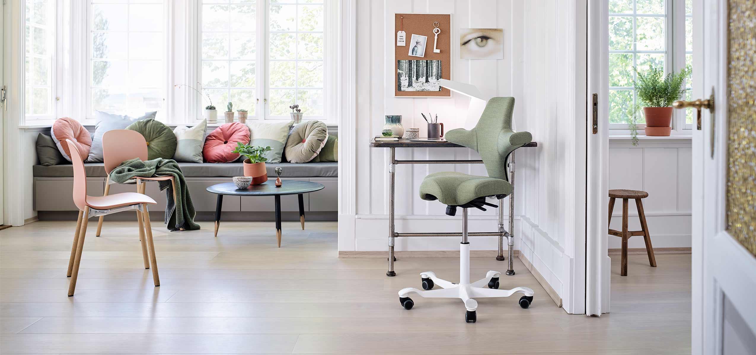 working from home HÅG Capisco chair in green in scandinavian design home office