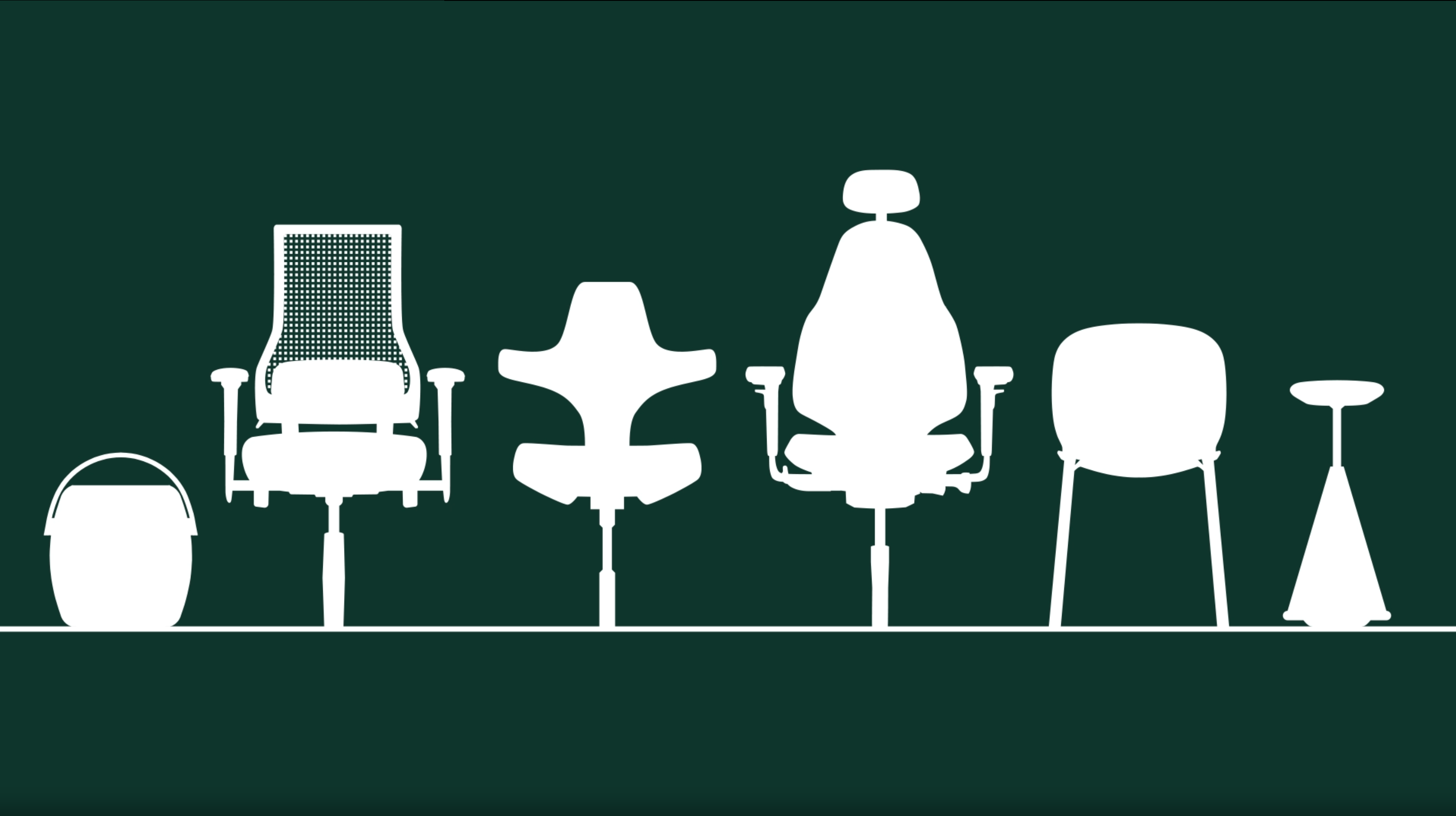 white silhouettes of 6 office chairs with dark green baackground
