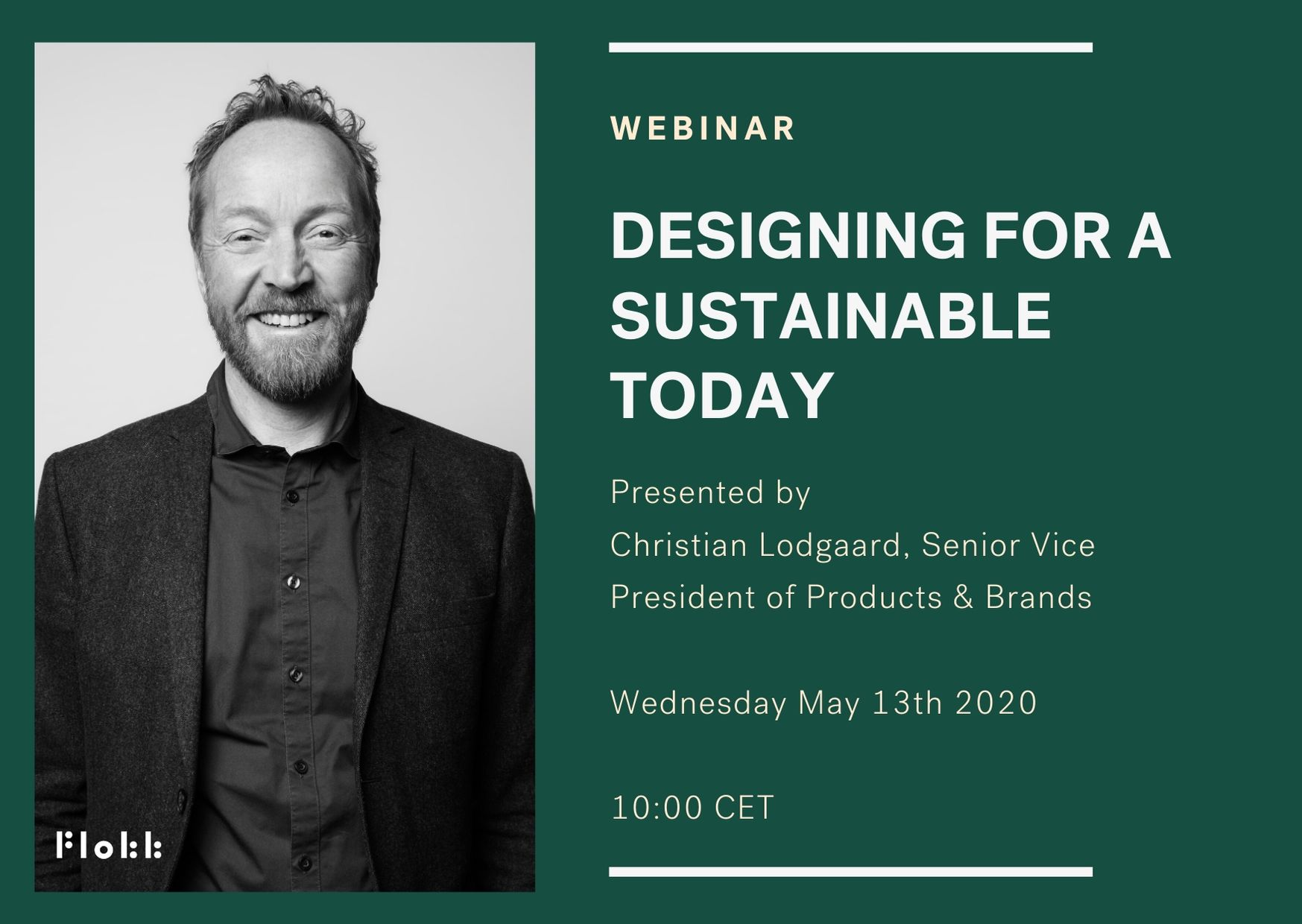flyer for flokk webinar designing for a sustainable today