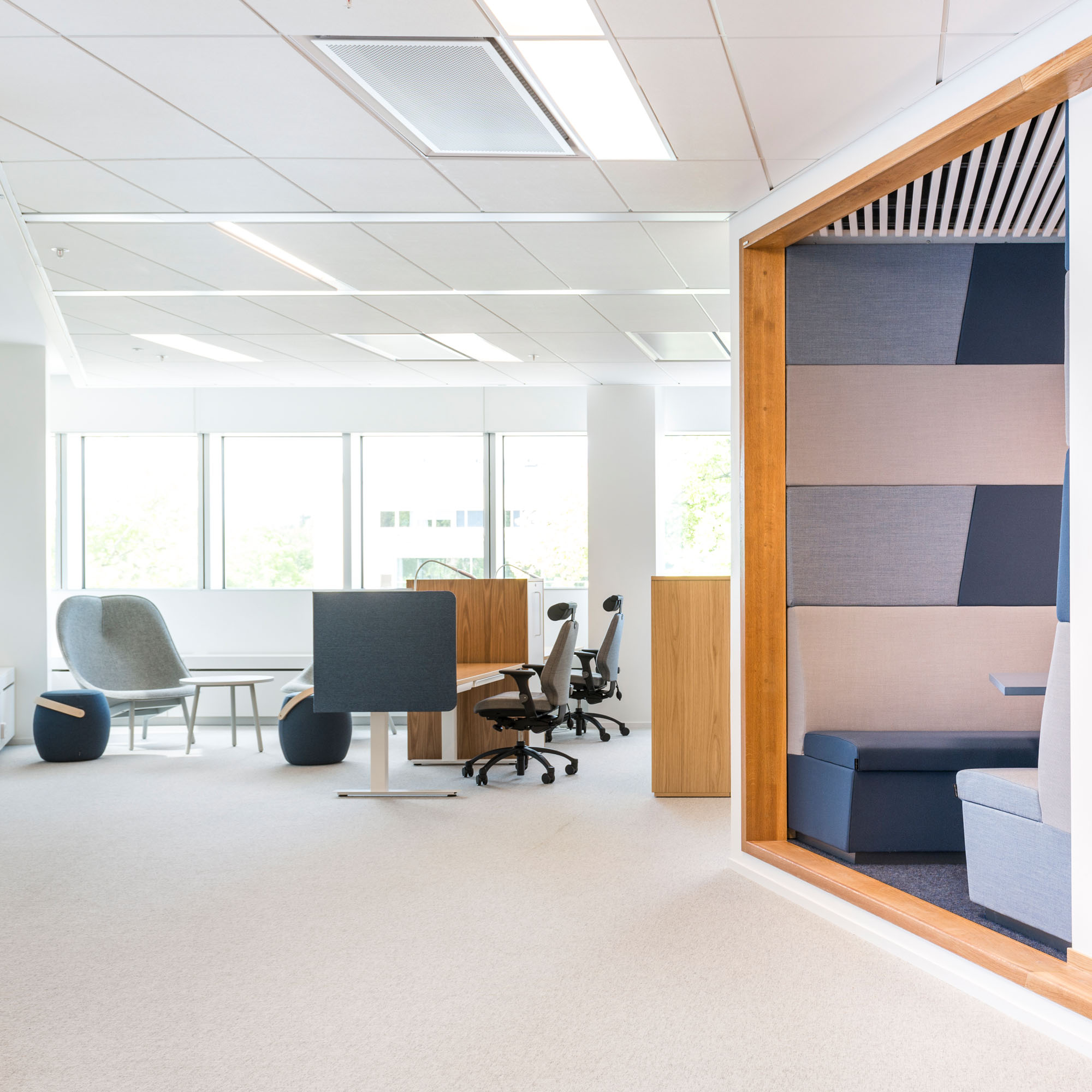 office space featuring Offecct and RH chairs, at Segerstedthuset building, uppsala university